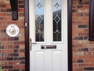 white composite door with window effect