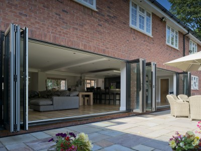 wide open panoramic pvc bi-fold doors