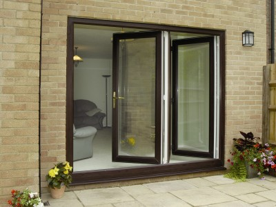 dark brown pvc bi-fold doors