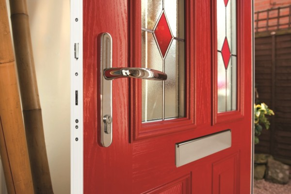 red composite door with chrome handle