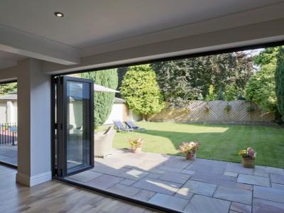 bi-folding open doors to garden