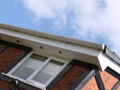 white fascia and soffits with downlights