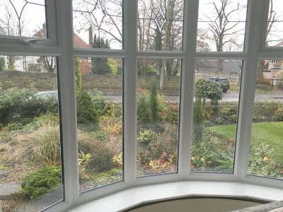 interior of white bay window