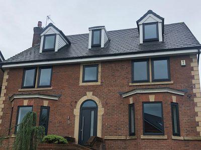 double glazing upvc windows in black casement style