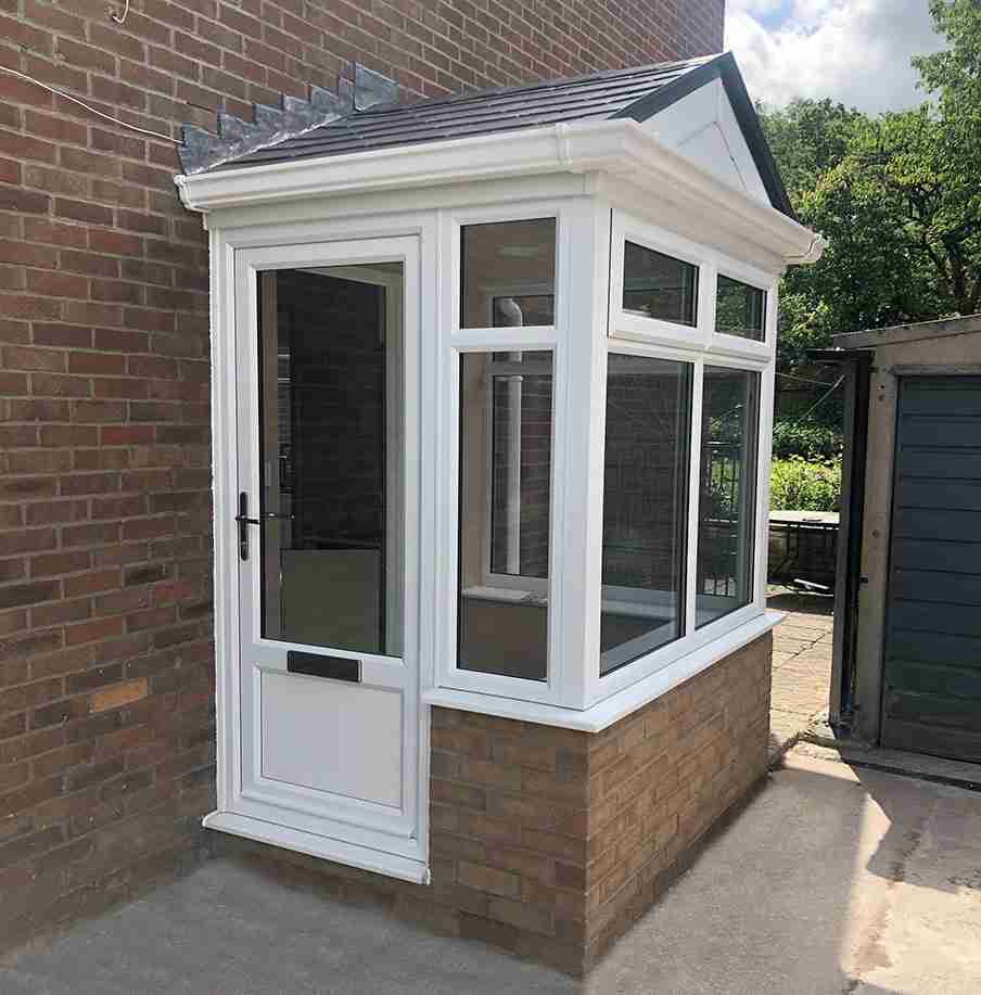 brick and upvc porch   porch builders
